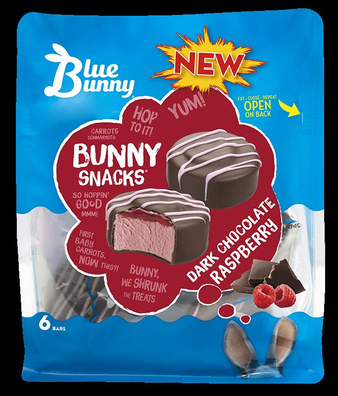 Dark Chocolate Raspberry Bunny Snacks® Front View Package