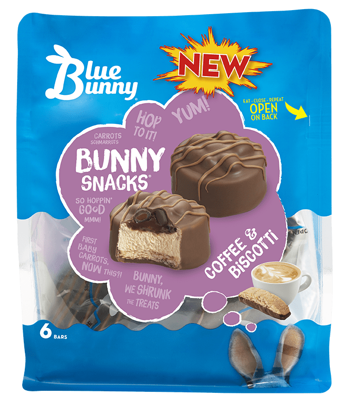 Coffee & Biscotti Bunny Snacks® Front View Package