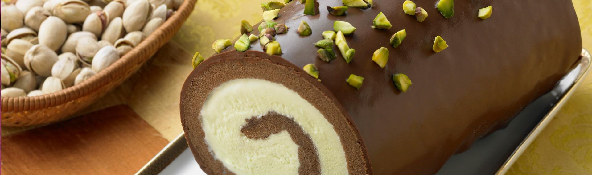 Pistachio Ice Cream Cake Roll